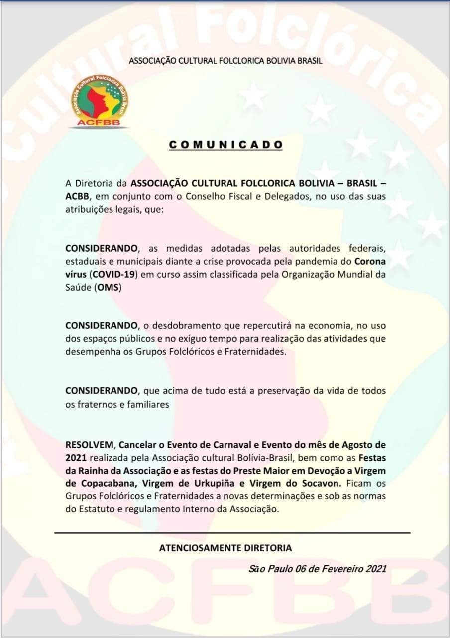 Canceladas festas de carnaval e da independência da Bolívia em 2021