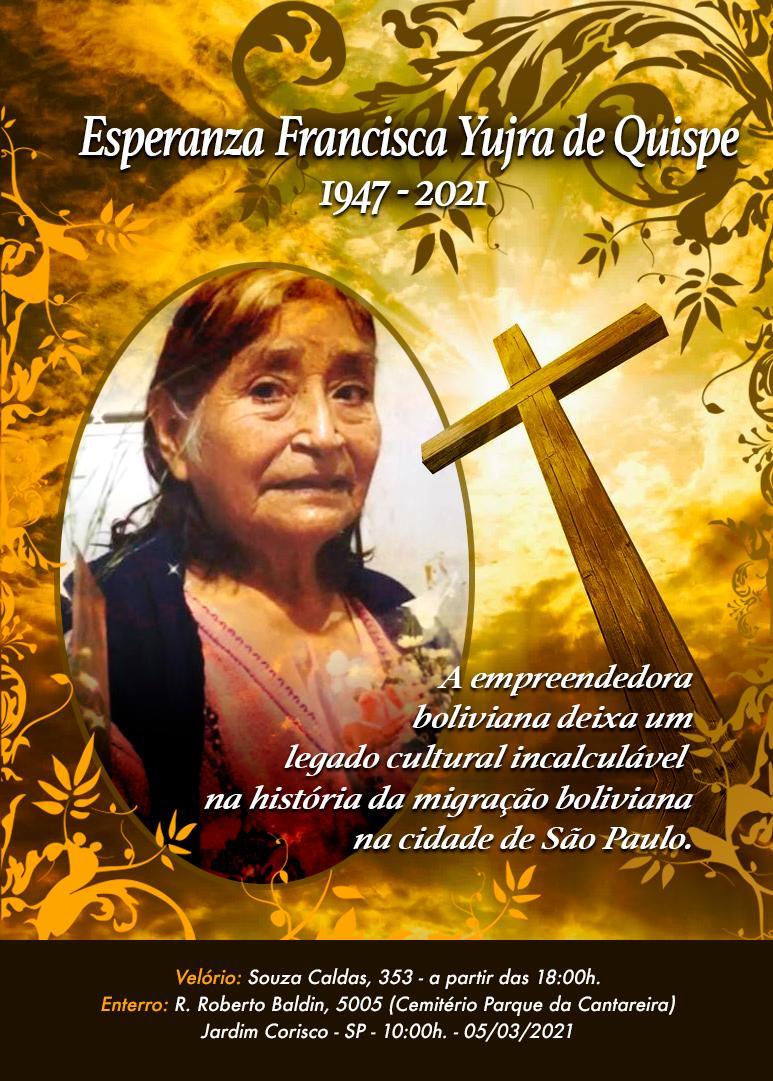 Faleceu a Sra. Francisca, empreendedora cultural que ajudou a escrever a história da migração boliviana em São Paulo