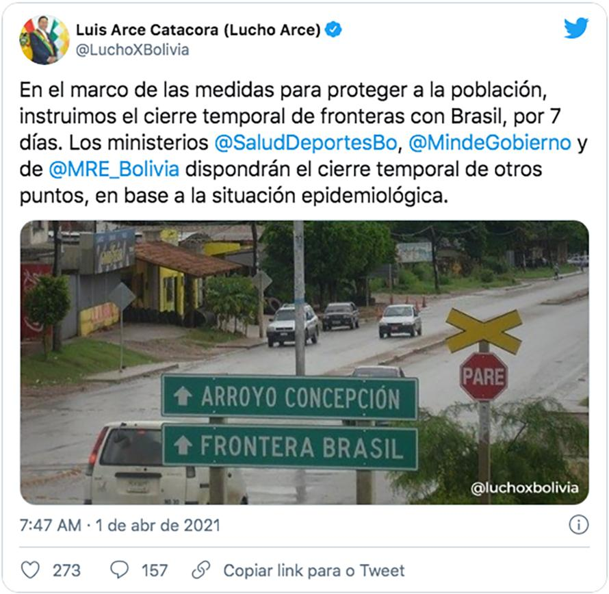 Bolívia fecha preventivamente fronteira com o Brasil