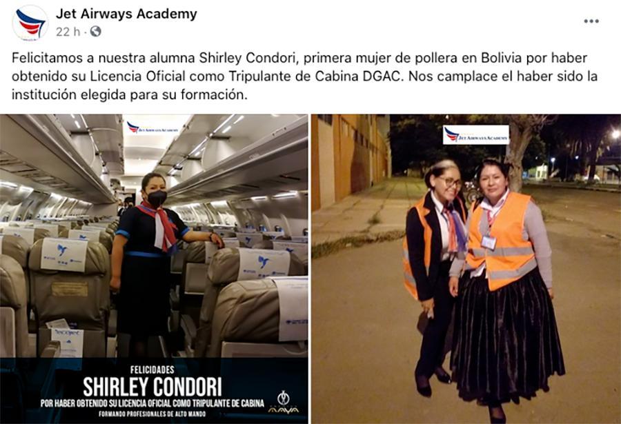 Shirley Condori é a primeira mulher de - pollera - se formar como tripulante de cabine