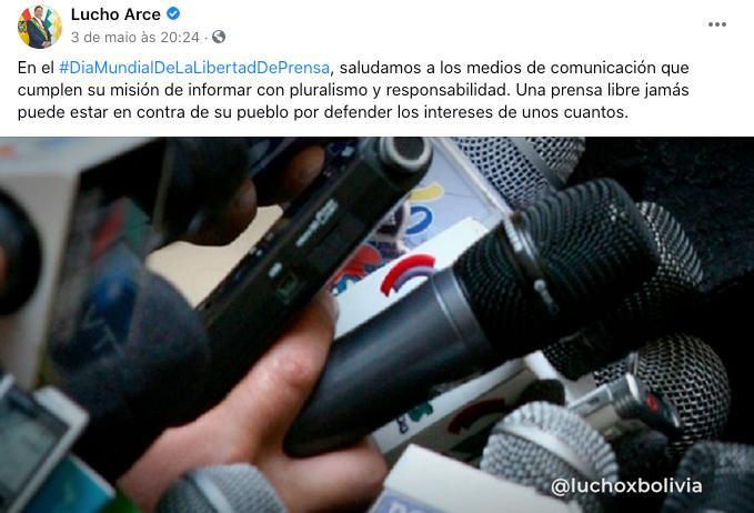 Presidente boliviano publica nota comemorativa pelo Dia Internacional da Liberdade de Imprensa