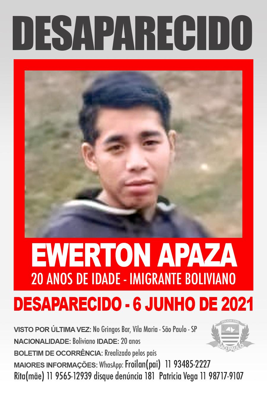 Desaparecido o boliviano Ewerton Carlos Apaza Capcha