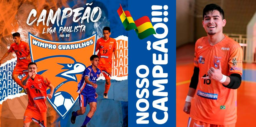 Wimpro do goleiro boliviano Yerko Mauricio campeão da Liga Paulista (sub-20) 2021
