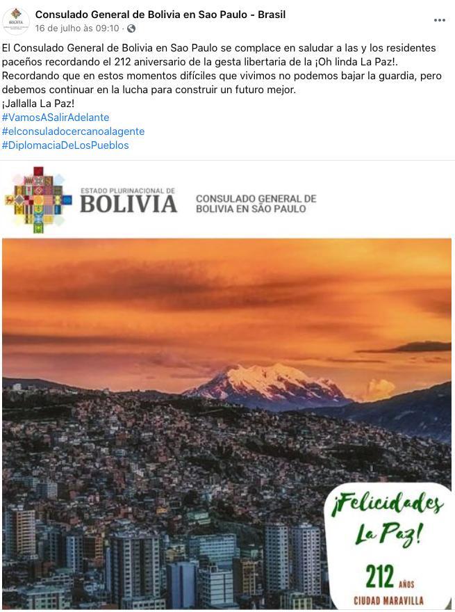 Nota oficial do consulado boliviano em São Paulo comemorando os 121 anos da cidade de La PAz na Bolívia