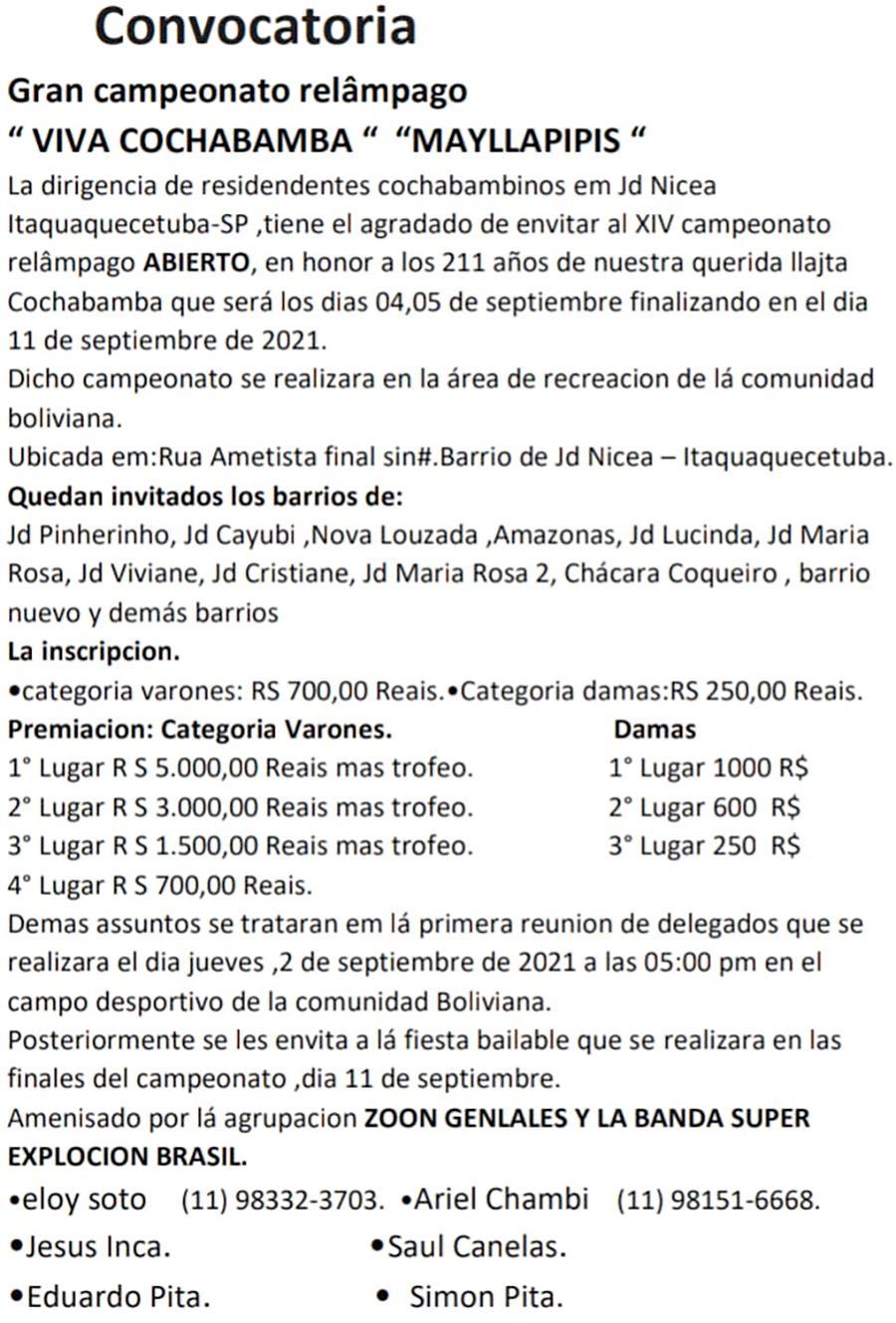 """Organizadores promovem a festa dos """"cochabambinos"""" em Itaquaquecetuba em SP."""